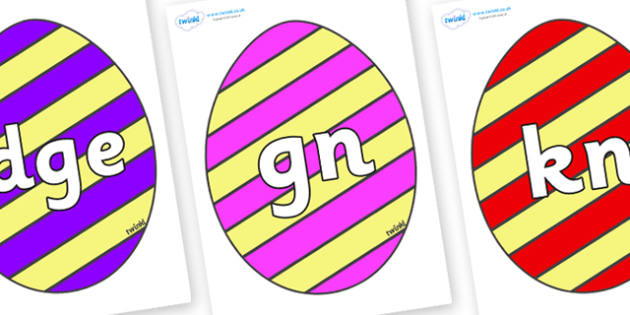 Silent Letters on Easter Eggs (Stripes) - Silent Letters, silent letter, letter blend, consonant, consonants, digraph, trigraph, A-Z letters, literacy, alphabet, letters, alternative sounds