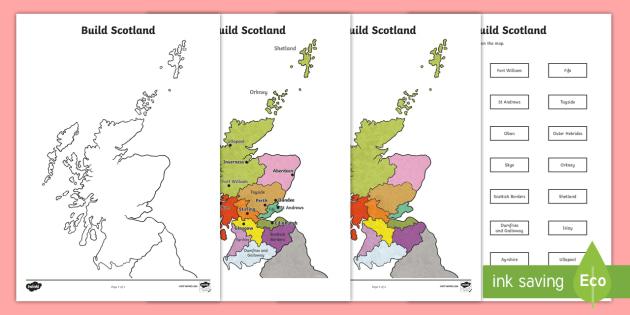 Build Scotland Map Jigsaw Puzzle - Scottish Cities, towns, city, settlements, geography, Scotland, map,Scottish