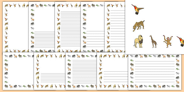Jungle Animals Page Border Pack - jungle Themed Page Borders Pack - The Selfish Crocodile, writing, literacy, display, english, ks1, k