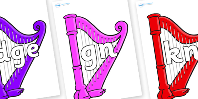 Silent Letters on Harps - Silent Letters, silent letter, letter blend, consonant, consonants, digraph, trigraph, A-Z letters, literacy, alphabet, letters, alternative sounds