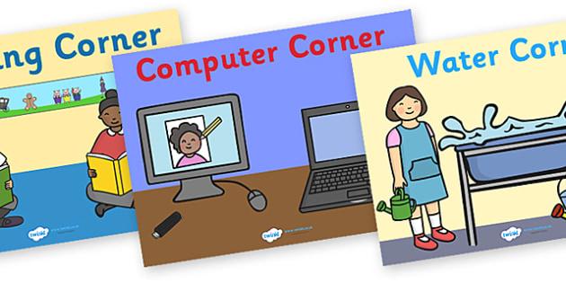Classroom Area Signs - area signs, classroom areas, classroom signs, reading corner signs, water corner sign, sand area sign, roleplay area sign, areas