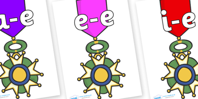 Modifying E Letters on War Medals - Modifying E, letters, modify, Phase 5, Phase five, alternative spellings for phonemes, DfES letters and Sounds