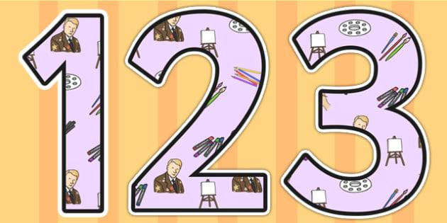 LS Lowry Themed Display Numbers - LS Lowry, Lowry,  display numbers, themed number, classroom number, numbers for display, numbers, numbers display