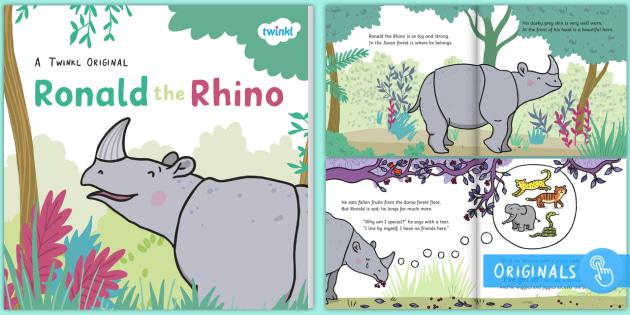 Ronald the Rhino eBook - Ronald the Rhino, rhyming, pattern, story, jungle, Africa, rhino,