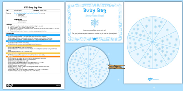 Snowflake Wheel EYFS Busy Bag Plan and Resource Pack - snowflake wheel, eyfs, busy bag