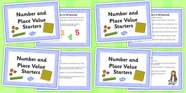 Number and Place Value Starters Ideas Cards - number, cards