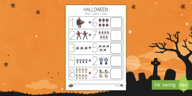 Halloween 0-10 Ficha para contar y sumar