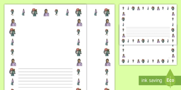 Refugee Girl Portrait Page Borders- Portrait Page Borders - Page border, border, writing template, writing aid, writing frame, a4 border, template, templates, landscape
