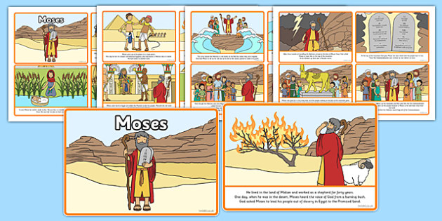 Moses Story Sequencing (4 per A4) - Moses, Egypt, Hebrews, slaves, Pharaoh, basket, God, sequencing, story sequencing, story resources, A4, cards, 4 per A4, palace, shepherd, burning bush, plague, Primised Land, law, stone, ten commandments, bible, b