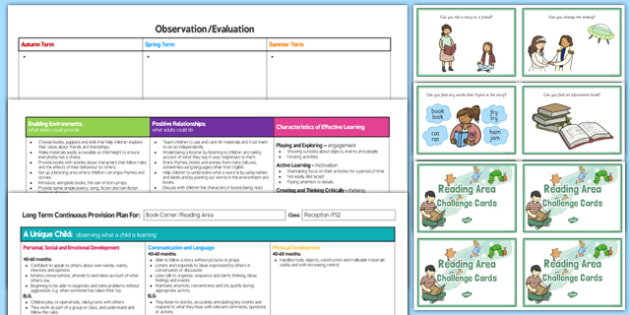 Reading Area Editable Continuous Provision Plan and Challenge Cards Pack Reception FS2