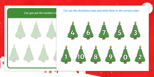 Christmas Tree Number Ordering Activity 0-10 - christmas tree, number ordering, activity, number, order, 0-10