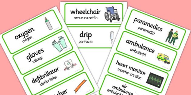 Paramedics Word Cards Romanian Translation - romanian, word cards