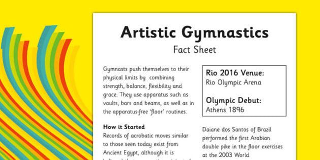 The Olympics Artistic Gymnastics Fact Sheet - olympics, rio 2016, artistic gymnastics, fact sheet