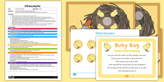Easter Chick Counting EYFS Busy Bag Plan and Resource Pack - Easter, chicks, counting, busy bag, EYFS, plan, counting to 5