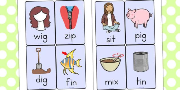 CVC Word Cards I - CVC, CVC words, visual aids, flash cards, I