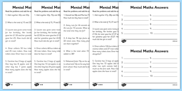 Mental Maths Adding Worksheets maths worksheet mental maths – Maths Worksheet Ks2