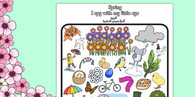 Spring Themed I Spy With My Little Eye Activity Arabic Translation - arabic, spring, themed, I spy, eye, activity