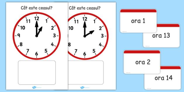 Citim ceasul la oră fixă - Cartonașe de punere în corespondență