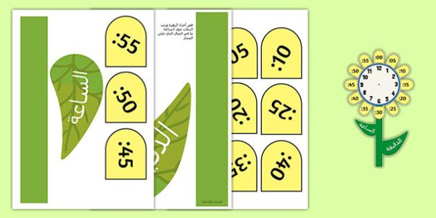 لوحة عرض الزهرة الساعة - الوقت، الساعة، بوسترات، أوراق عمل، تعليم