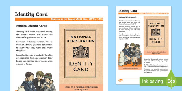 Scotland in the Second World War Identity Cards Fact File - Scotland in World War II, identity cards, Scottish