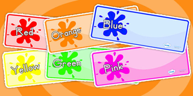 Color Themed Drawer Peg Name Labels - colors, name tags, signs