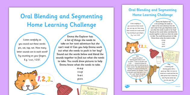 Oral Blending and Segmenting EYFS Home Learning Challenge Sheet Nursery FS1 - EYFS planning, Early years activities, homework activities, phonics, Letters and Sounds, Phase 1, Aspect 7