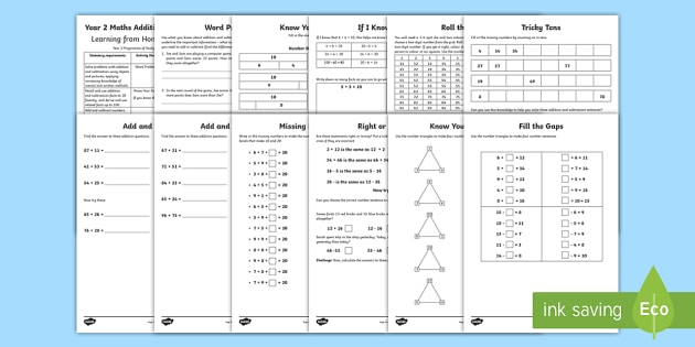 Year 2 Maths Addition and Subtraction Home Learning Activity Booklet - maths, addition, subtraction, calculation, year 2, worksheets, home, homework, parent, support, work