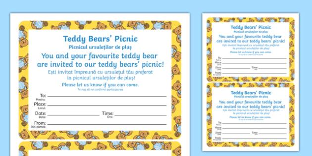 Teddy Bears Picnic Invitation Romanian Translation - romanian, EYFS, Early Years, writing, party, bears, We're Going on a Bear Hunt, Micheal Rosen, Brown Bear, teddy bear