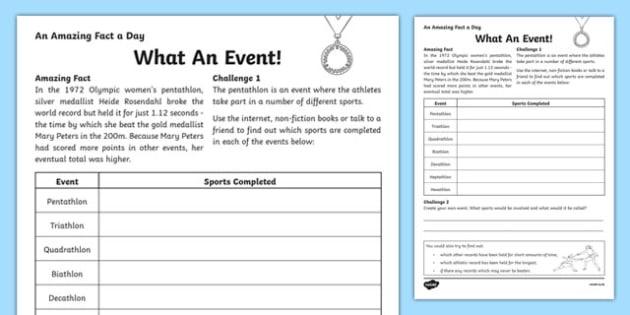 What An Event! Activity Sheet, worksheet