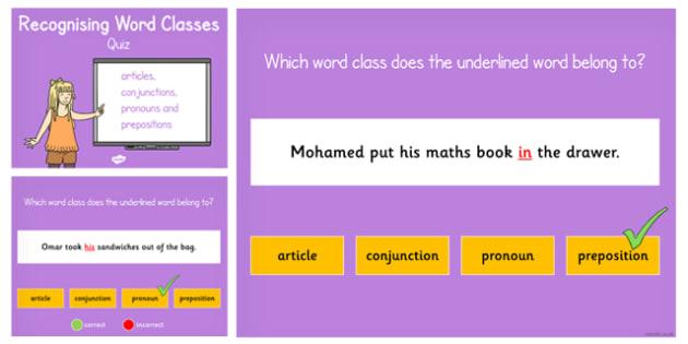 Articles, Conjunctions, Pronouns Prepositions Quiz - Connectives