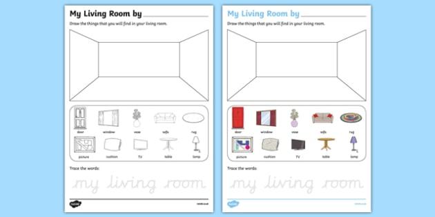 My Living Room Aistear Follow On Worksheet - gaeilge, my living room, aistear, follow on
