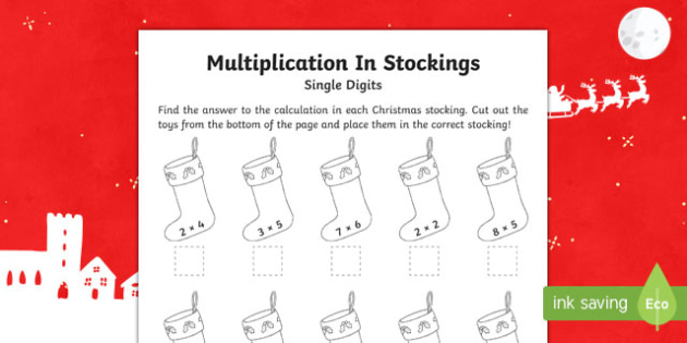 Single digit multiplication Christmas Activity Sheet-Australia