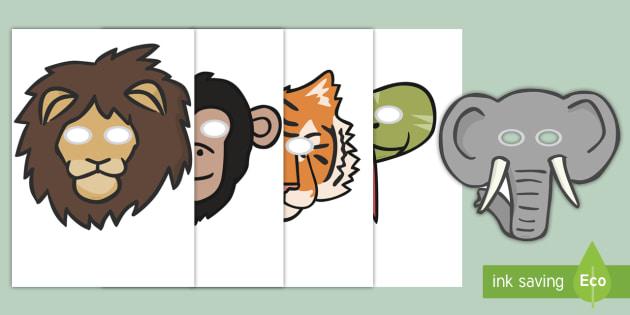 Jungle Animal-Themed Story Role-Play Masks - walking through the jungle, animals, story, book, role play mask, role play, masks, jungle, animal, lion, tiger, elephant, snake monkey, crocodile
