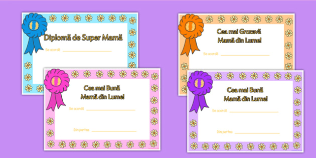 Ziua Mamei - Diplome
