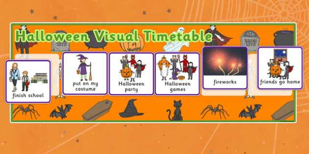 Visual Timetable for Halloween - visual, timetable, halloween, hallowe'en