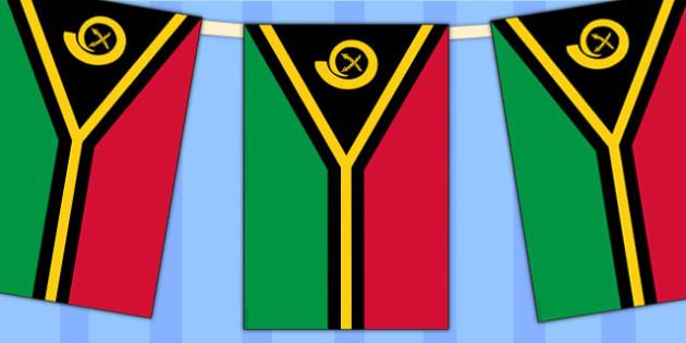 Vanuatu Flag Display Bunting - country, geography, commonwealth
