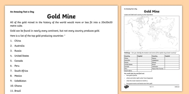 Gold Mine Activity Sheet - amazing fact a day, activity sheet, activity, activities, gold mine, worksheet