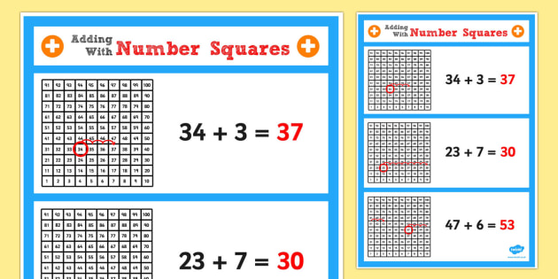 Year 2 Adding 2 Digit Numbers and Ones Using Number Square Poster