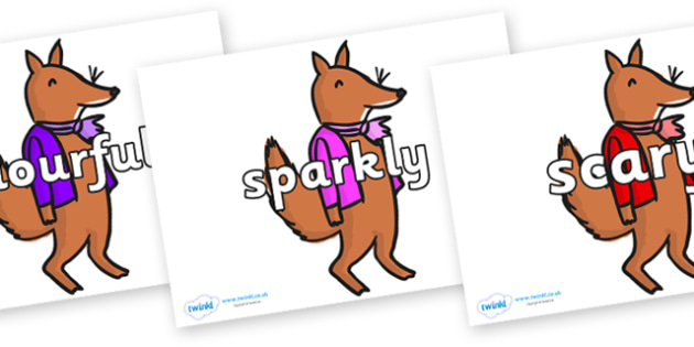 Wow Words on Small Fox 2 to Support Teaching on Fantastic Mr Fox - Wow words, adjectives, VCOP, describing, Wow, display, poster, wow display, tasty, scary, ugly, beautiful, colourful sharp, bouncy