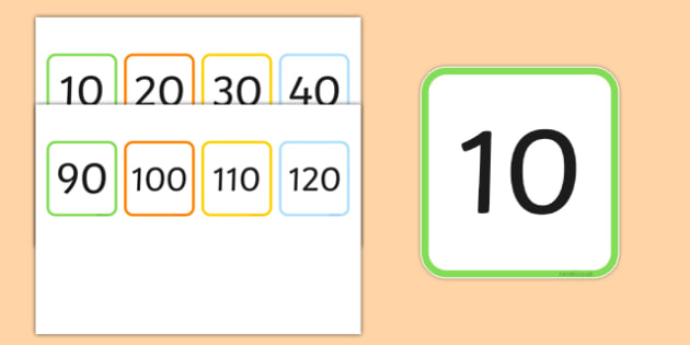 Multiples of 10 Flashcards - multiples, counting, times table, count, multiplication, division, flash cards, 10