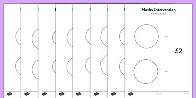 Maths Intervention Coin Design Template - SEN, special needs, maths, money, counting money, recognising money, adding money, coins, notes