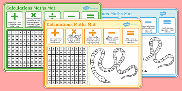 Calculations Maths Mats - add, subtract, times, divide, visual aid, support, calculating, challenge, ks1, primary