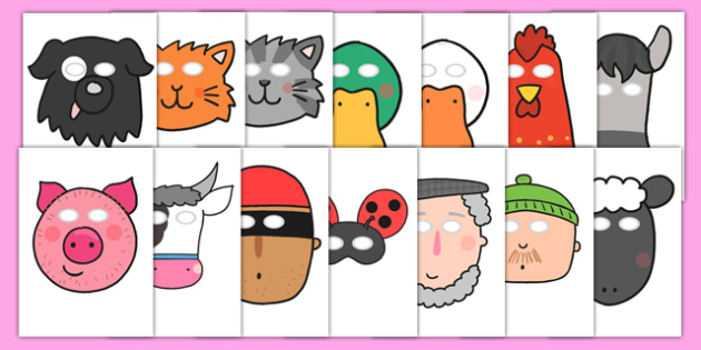 Role Play Masks to Support Teaching on What the Ladybird Heard - what the ladybird heard, role play, role play masks, masks, masks for role play, role play props, themed masks