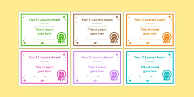 Year 11 Leavers Award Certificates Editable Template - year 11, leavers award, certificates, leaver, award, transition, ks4