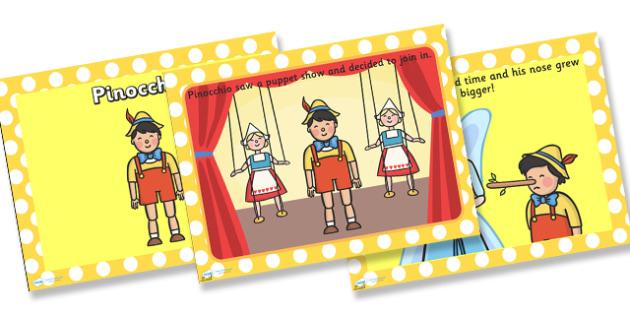 Pinocchio Story PowerPoint - pinocchio, pinocchio powerpoint, pinocchio story, the story of pinocchio, traditional tales, traditional tale powerpoint