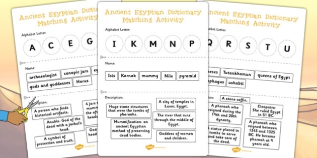 Ancient Egypt Dictionary Matching Activity - match, dictionary