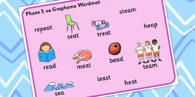 Phase 5 ea Grapheme Word Mat - phase five, graphemes, literacy
