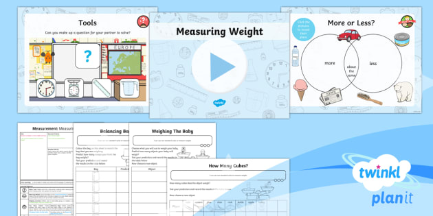 PlanIt Y1 Measurement Lesson Pack - Measurement, measuring, weight, measure and record, non-standard units, measure, weighing, scales