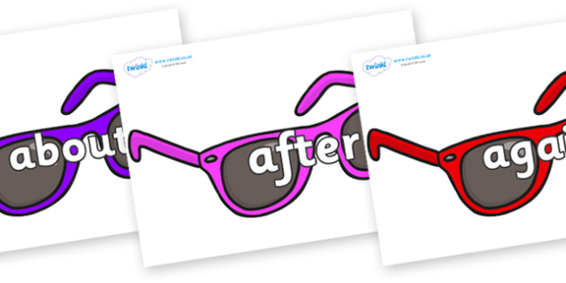 KS1 Keywords on Sunglasses - KS1, CLL, Communication language and literacy, Display, Key words, high frequency words, foundation stage literacy, DfES Letters and Sounds, Letters and Sounds, spelling