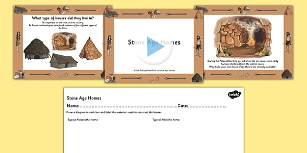 Stone Age Homes Lesson Teaching Pack - stone age, homes, houses